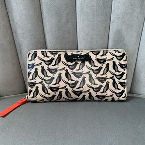 Kate Spade bird print zip around wallet